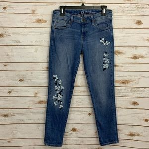 Gap Embroidered Floral Girlfriend Jeans